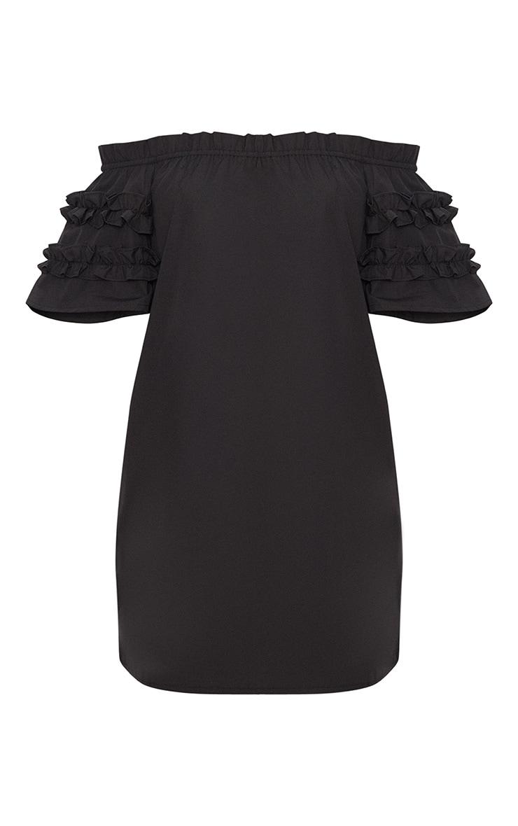 Petite Black Ruffle Sleeve Bardot Shift Dress 3