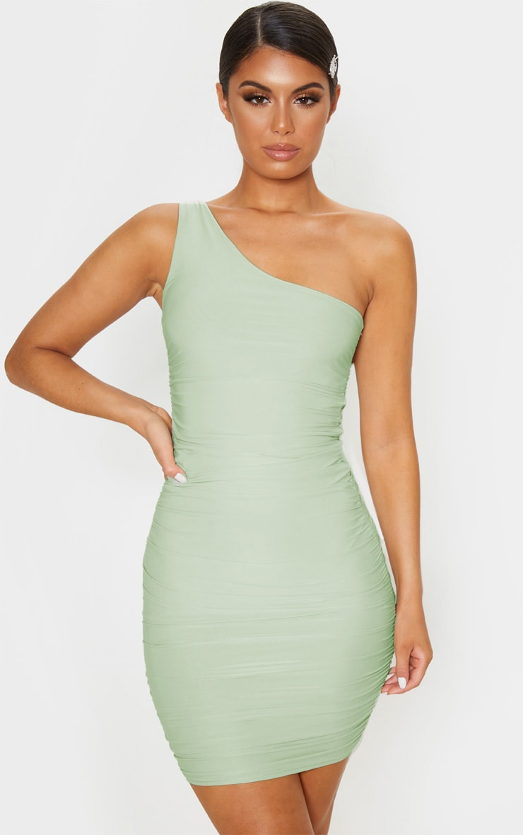 Sage Green Slinky One Shoulder Ruched Bodycon Dress 1