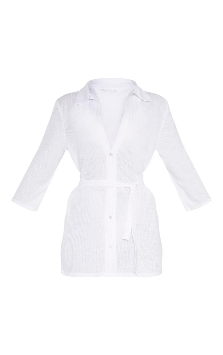 White Tie Waist Waffle Textured Beach Dress 3