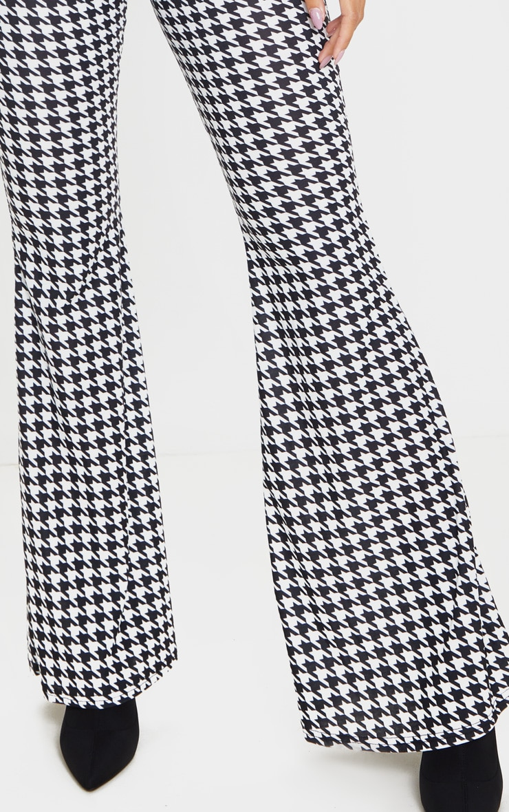 Black Dogtooth Flared Trousers 5