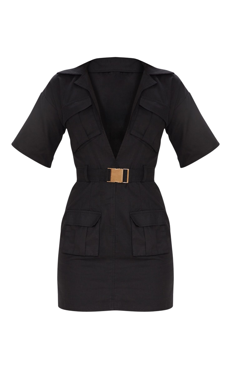 Black Cargo Utility Gold Buckle Pocket Detail Bodycon Dress 3