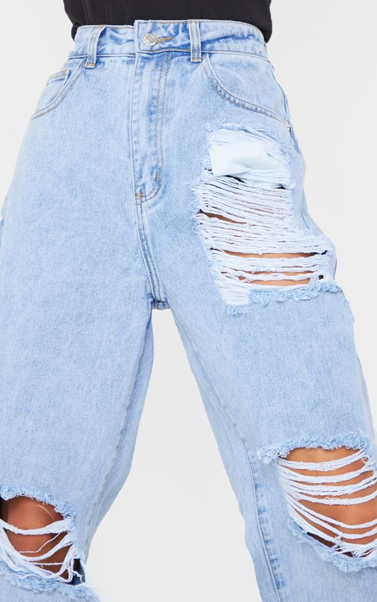Light Blue Wash  Ripped Split Hem Boyfriend Jeans 4