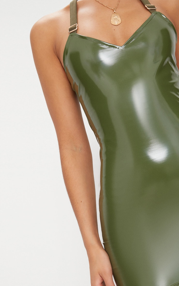 Khaki Halterneck Buckle Detail Vinyl Dress  5