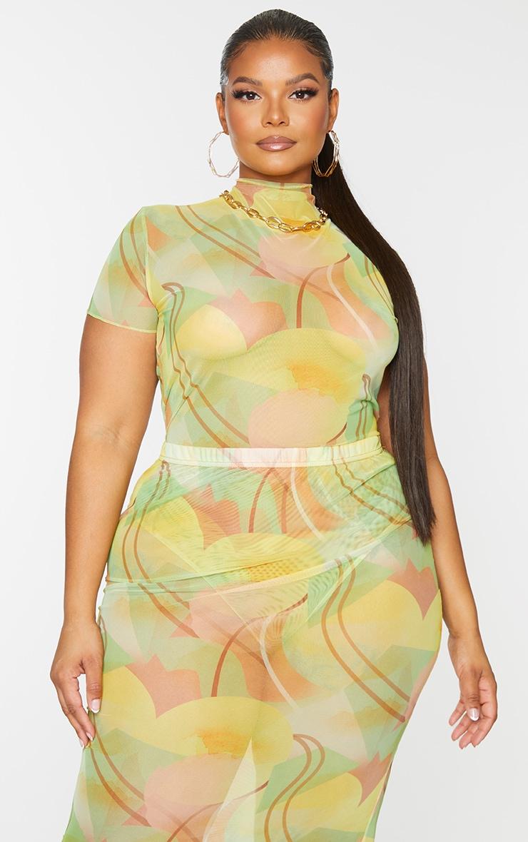 Plus Yellow Abstract Print Short Sleeve Mesh Bodysuit 3