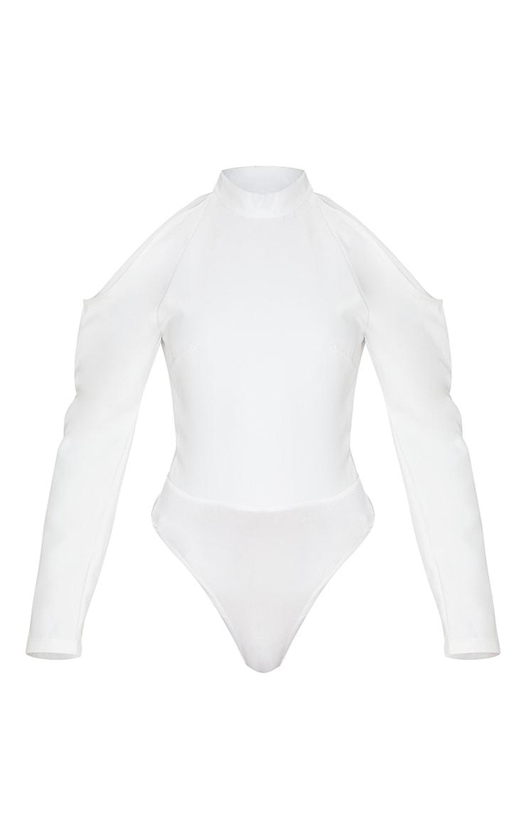White Woven Cold Shoulder High Neck Bodysuit 3