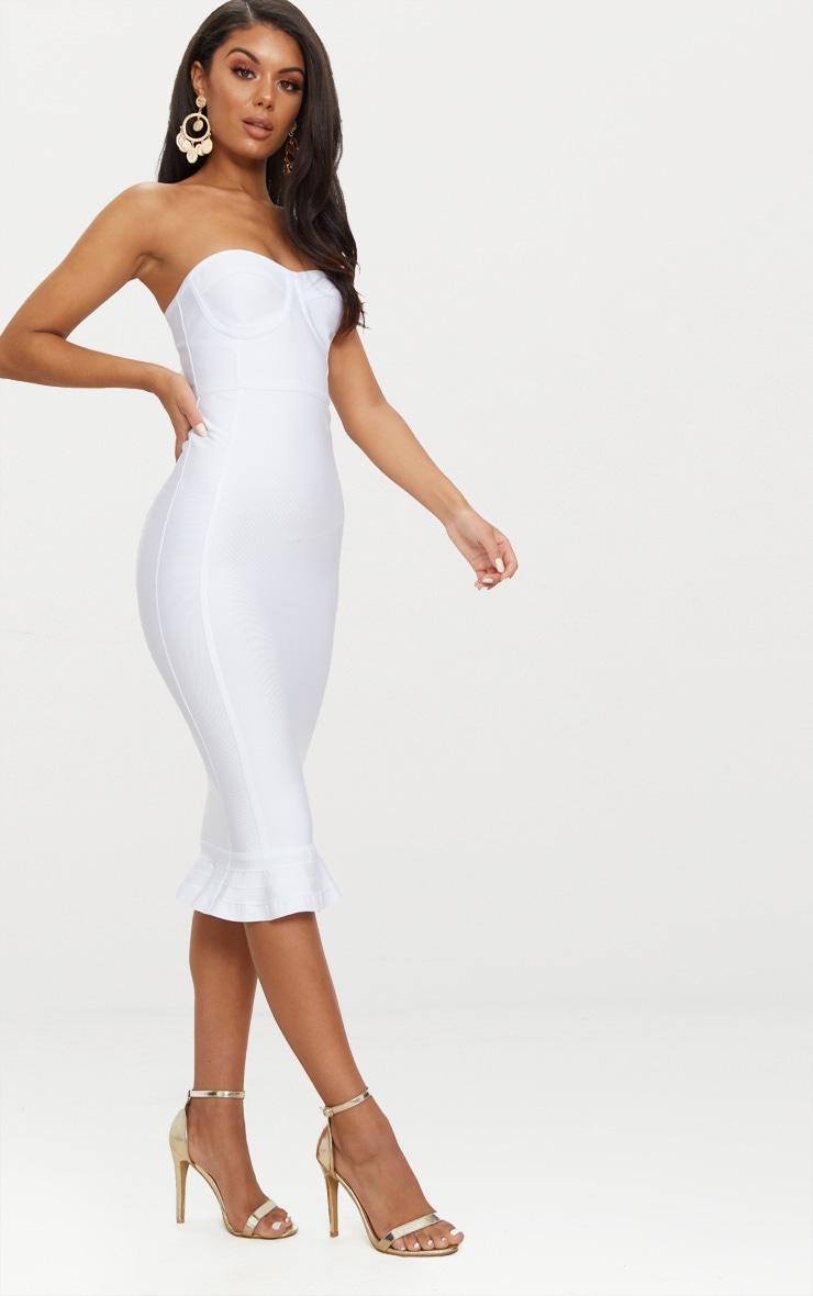 Roxina White Bandage Frill Hem Midi Dress 4