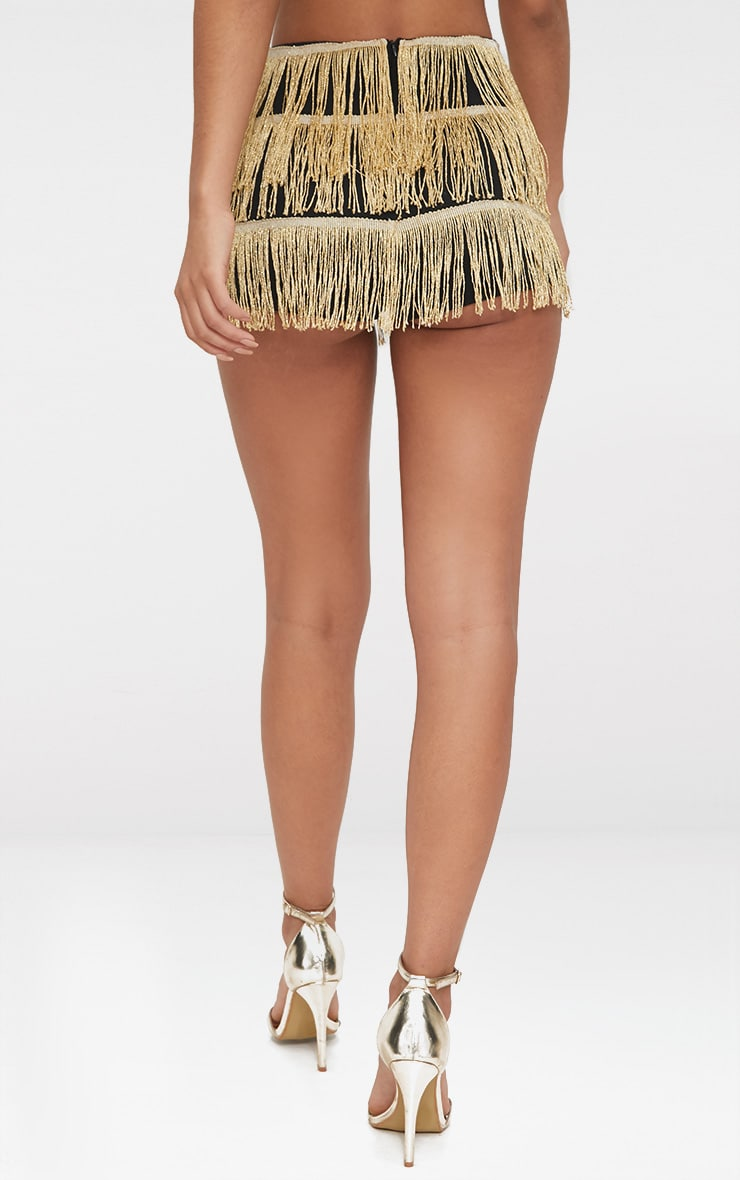 Gold Tiered Fringe Shorts 4