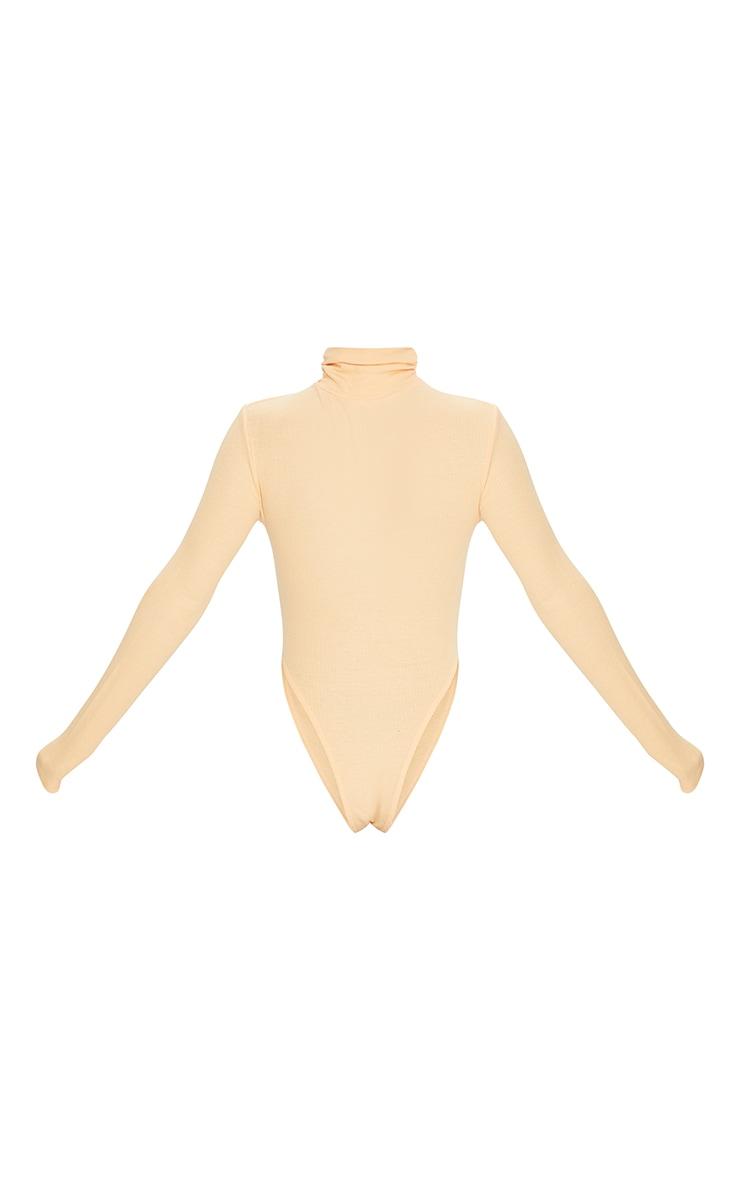 Peach Rib Ruched High Neck Bodysuit 6