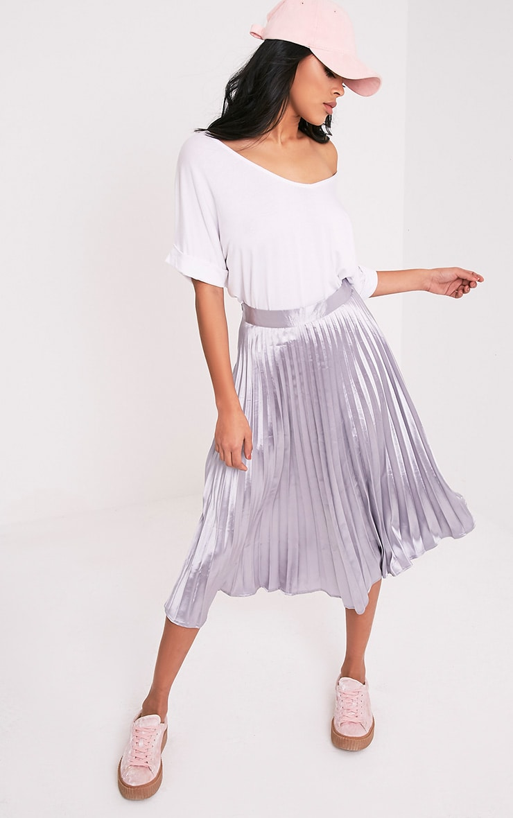 Harmonia Grey Satin Pleated Midi Skirt 1