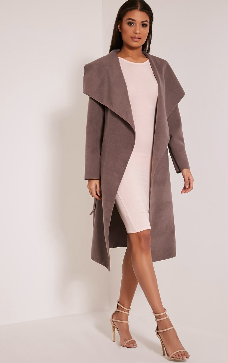 Veronica Latte Oversized Waterfall Belt Coat 2