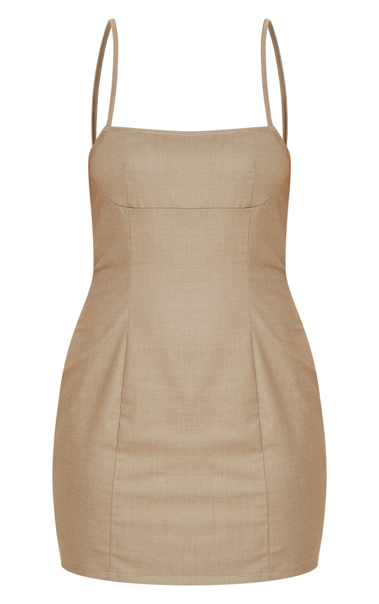 Stone Woven Strappy Seam Detail Bodycon Dress 3