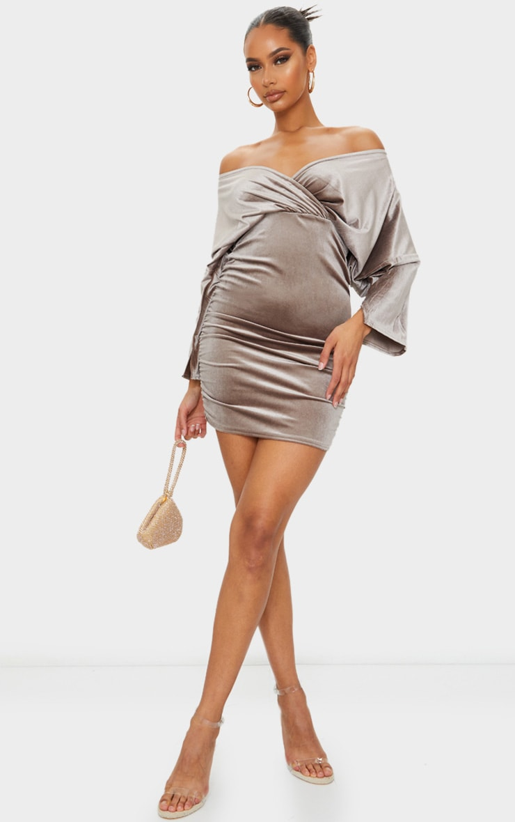 Champagne Velvet Off The Shoulder Wrap Ruched Bodycon Dress 1