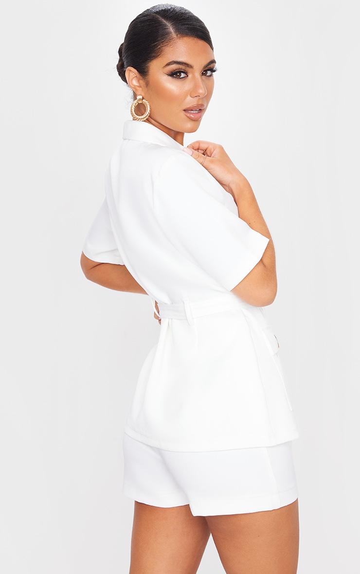 White Short Sleeve Belted Waist Blazer 2