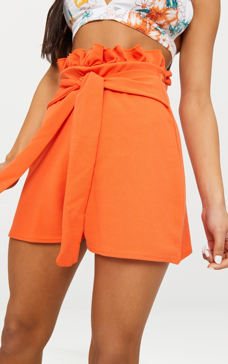 Orange Paperbag Waist Shorts 6