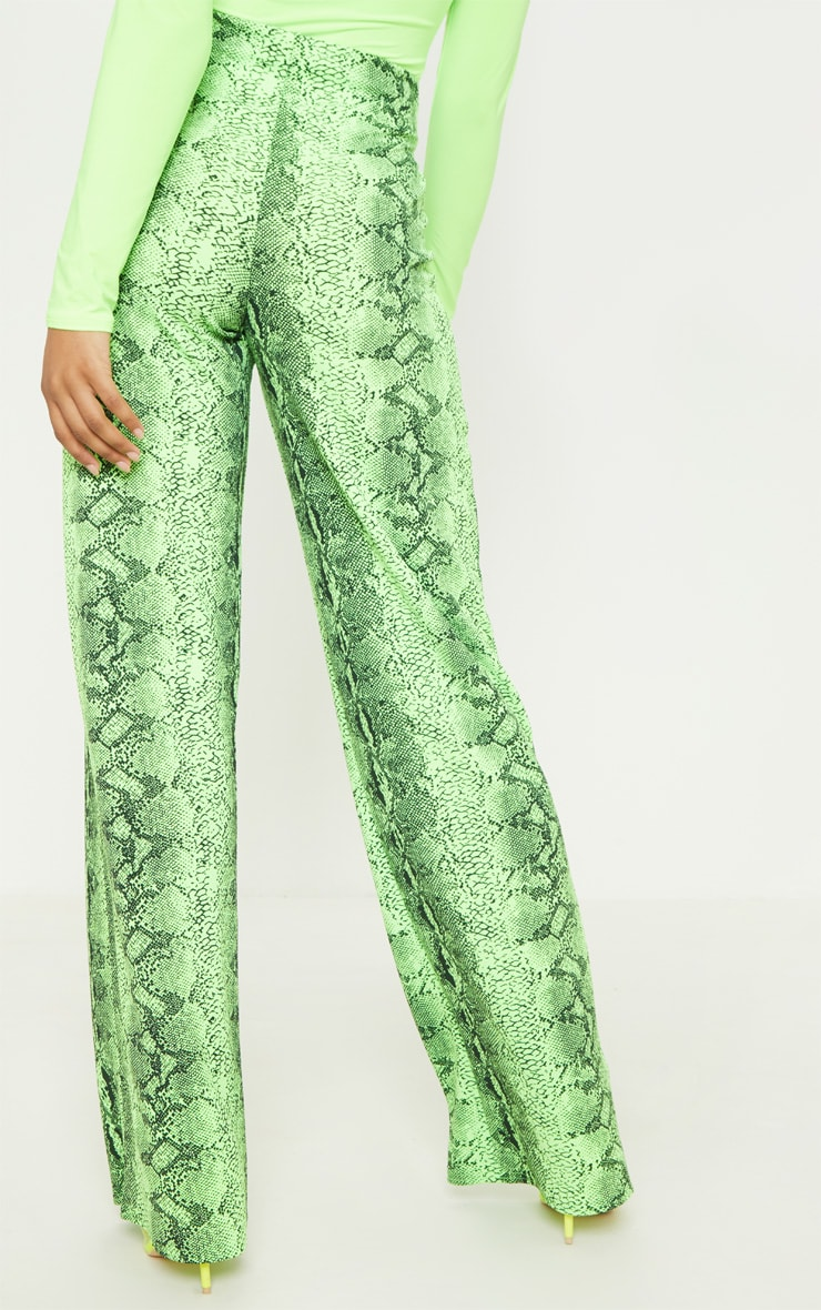 Tall Neon Lime Snake Print Wide Leg Trouser 4