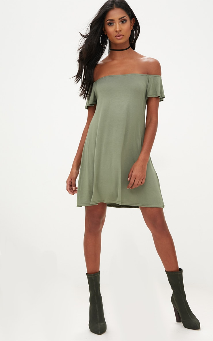 9b674482f819 Khaki Jersey Bardot Shift Dress image 1