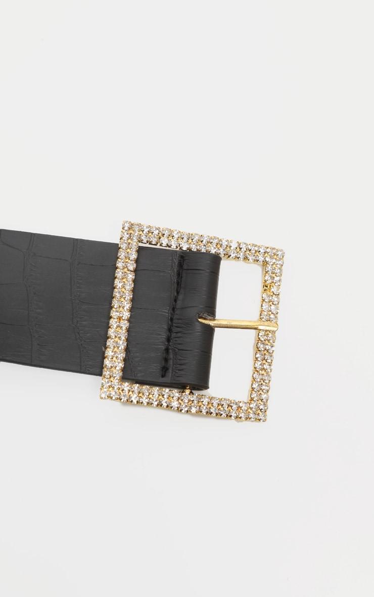 Gold Diamante Buckle Back Croc PU Waist Belt 3