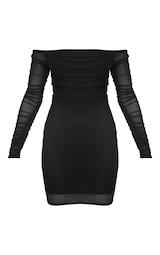 551829fa35 Black Ruched Mesh Bardot Bodycon Dress image 3