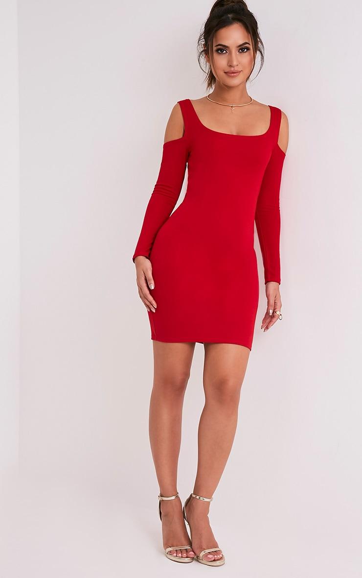 Eshan Red Ponte Cold Shoulder Bodycon Dress 5