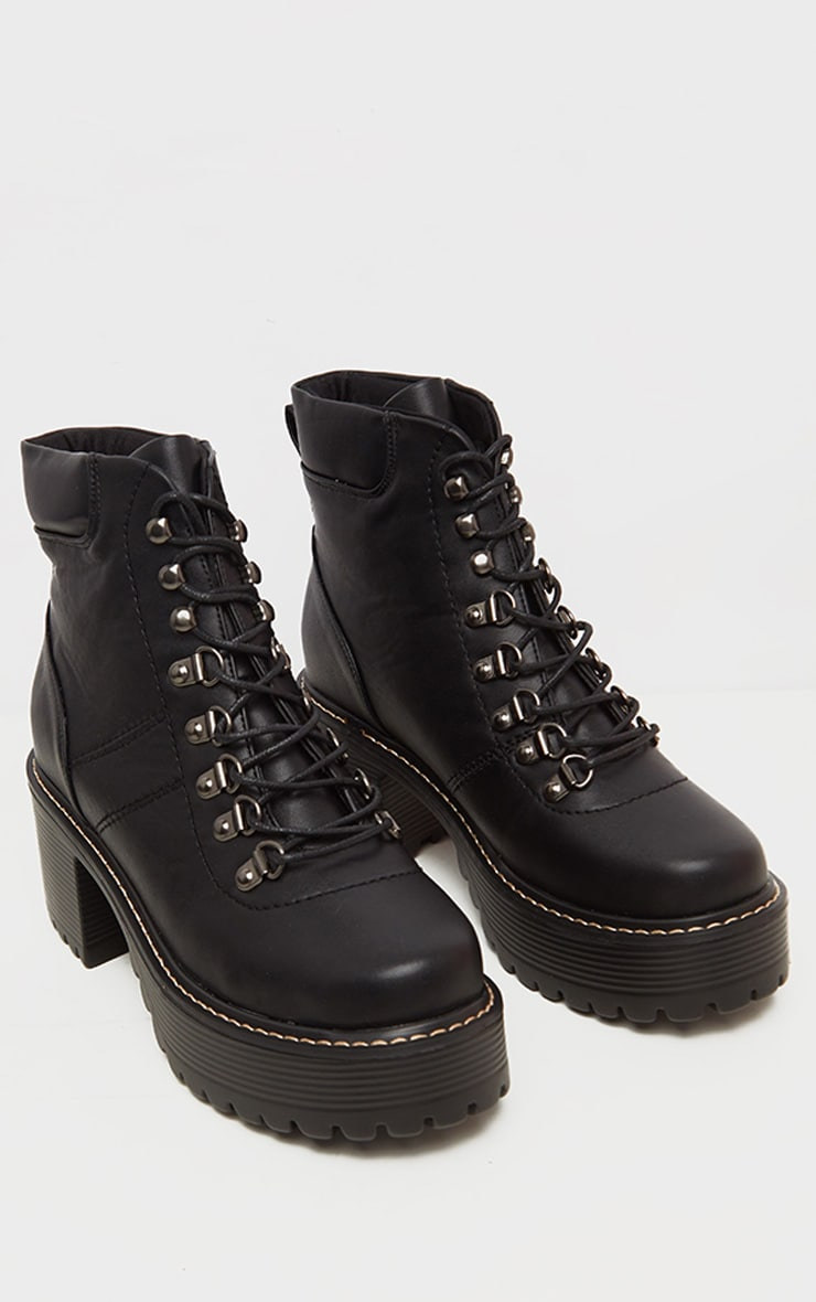 Black Cleated Platform Chunky Hiker Lace Up Ankle Boot 1