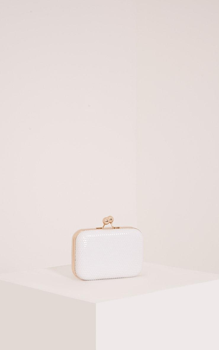 Morgan White Box Clutch Bag 1
