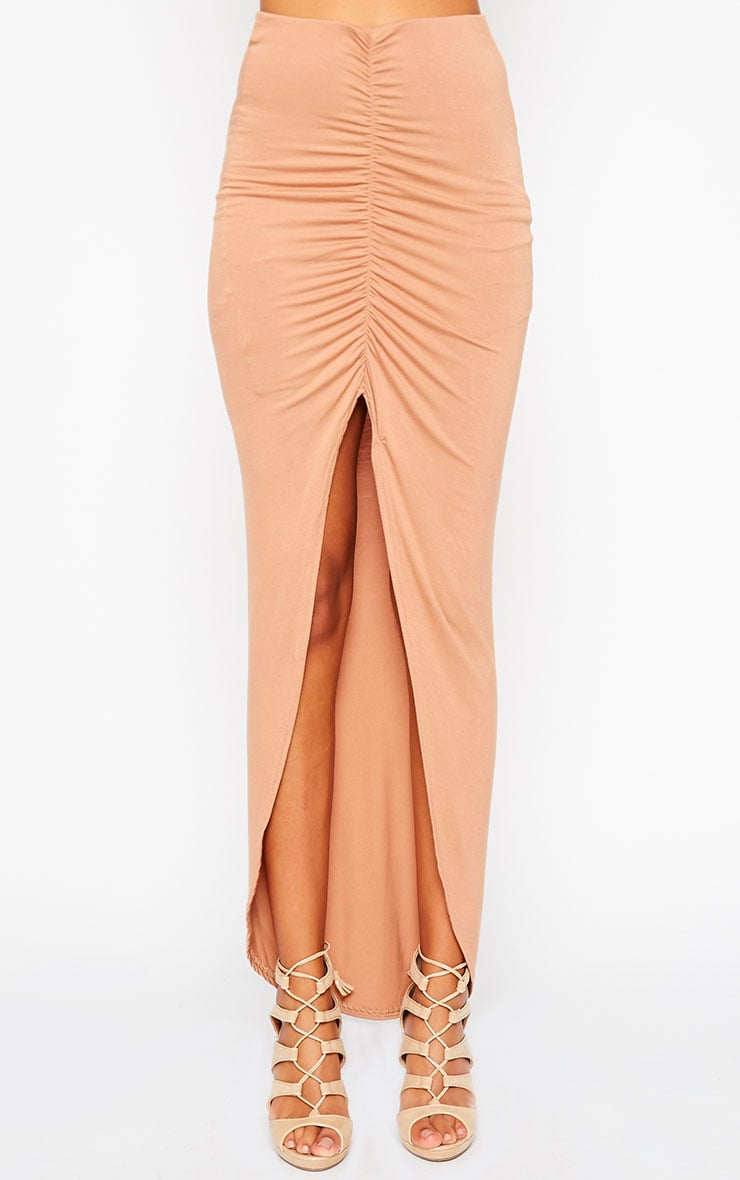 Omari Camel Ruched Front Jersey Maxi Skirt 2