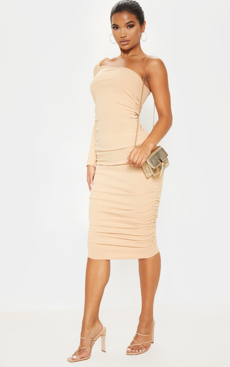 Stone One Shoulder Ruched Detail Midi Dress 1