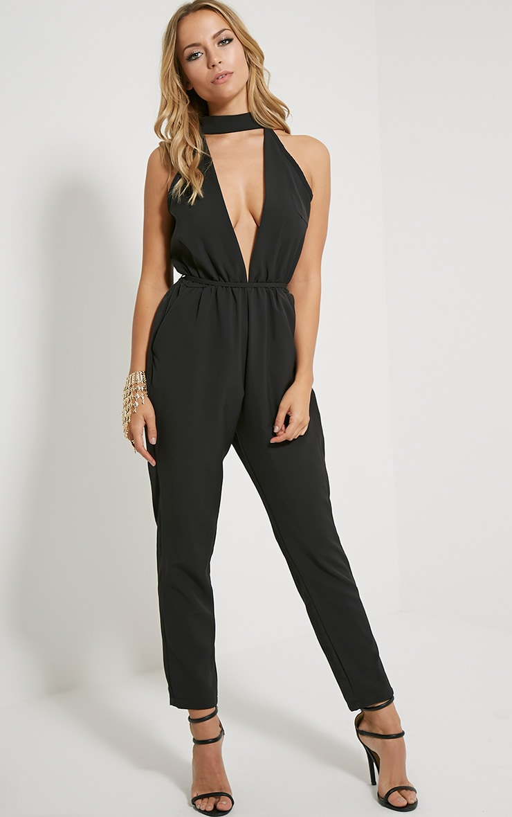 Jeena Black Cut Out Detail Jumpsuit 1