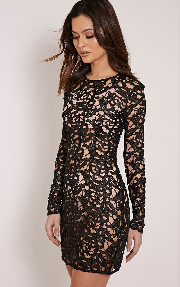 Danta Black Sheer Crochet Lace Dress 4