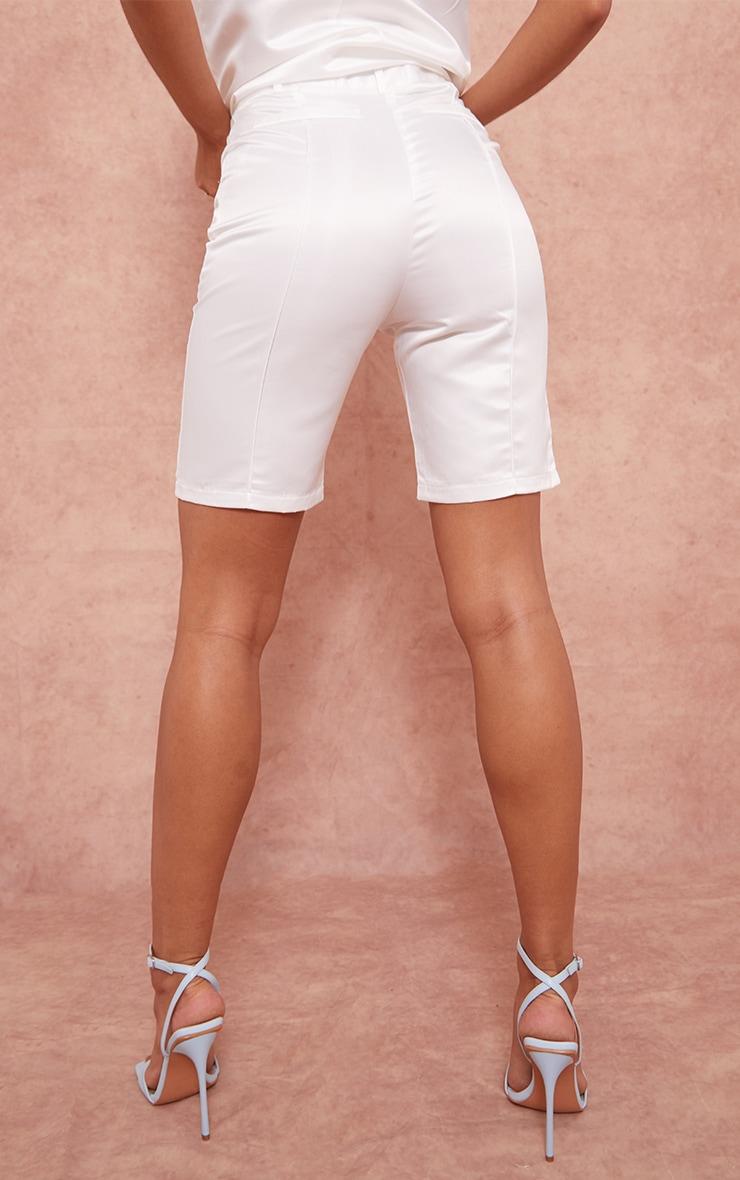 White Structured Satin Longline Shorts 3