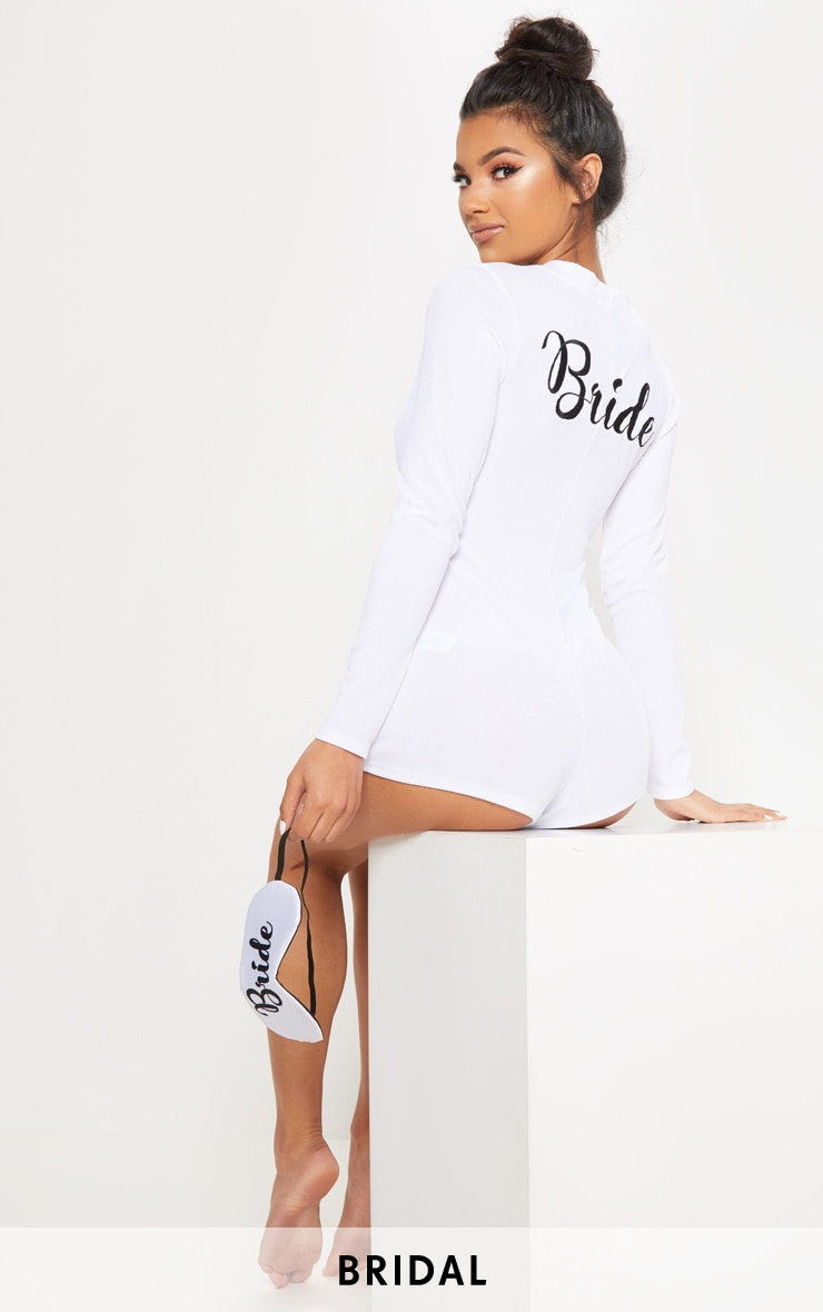 White Bride Embroidered Back PJ Romper  1