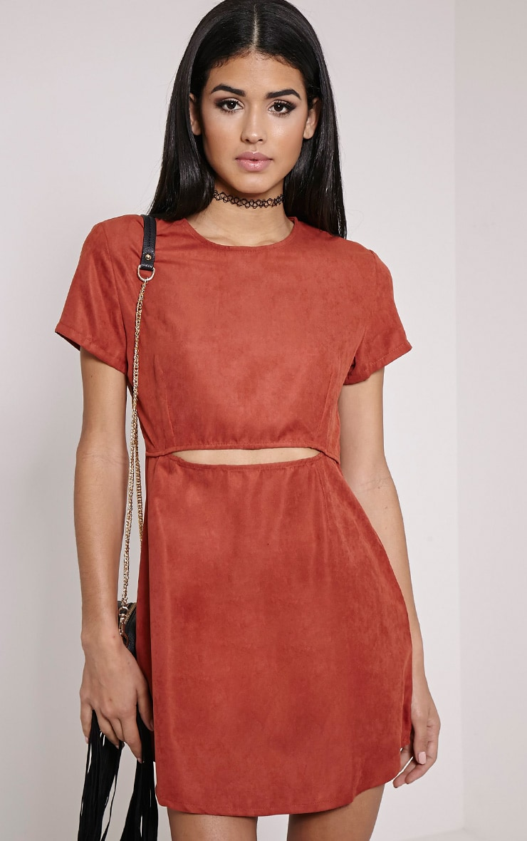 Yumie Terracotta Cord Cut Out A-Line Dress 1