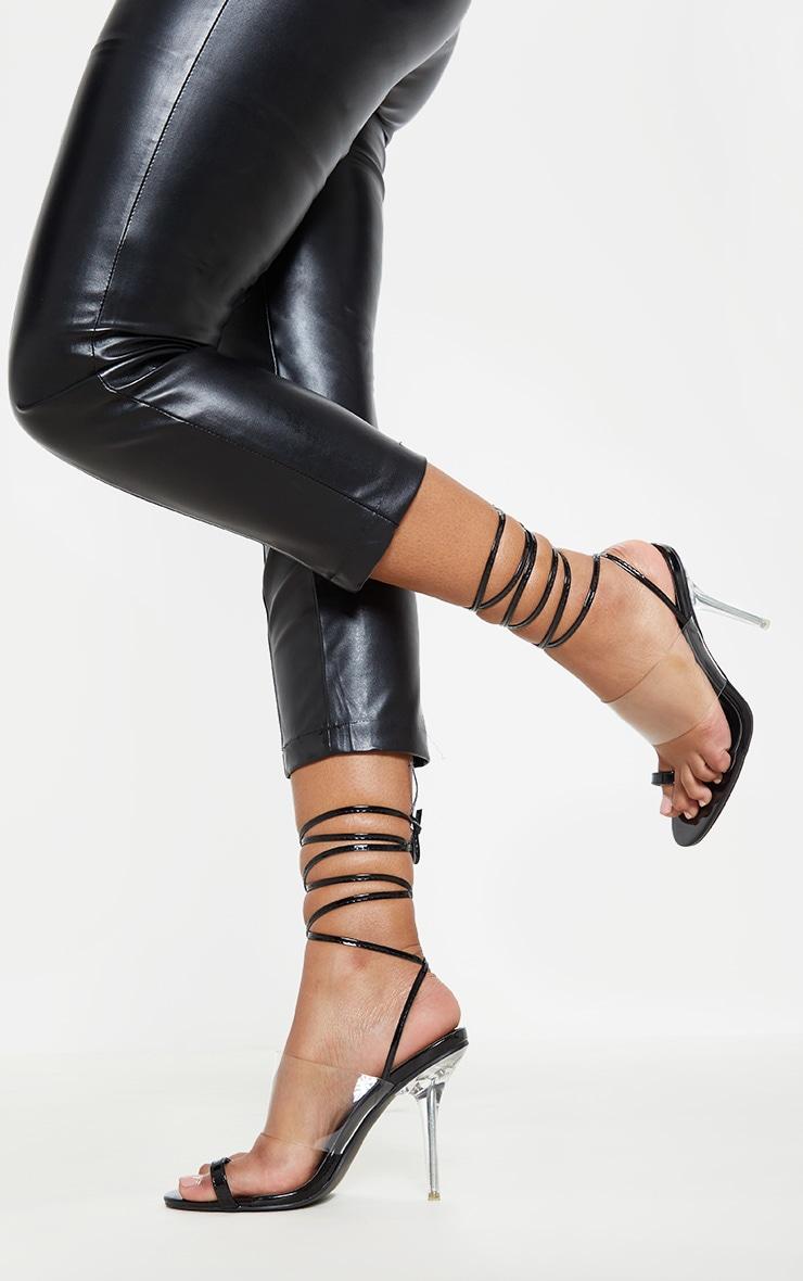 Black Clear Heel Toe Loop Ankle Tie Sandal  1