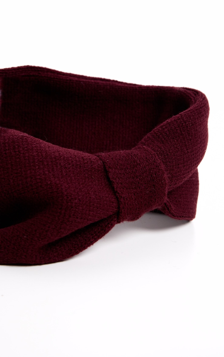 Burgundy Knitted Knot Headband 3