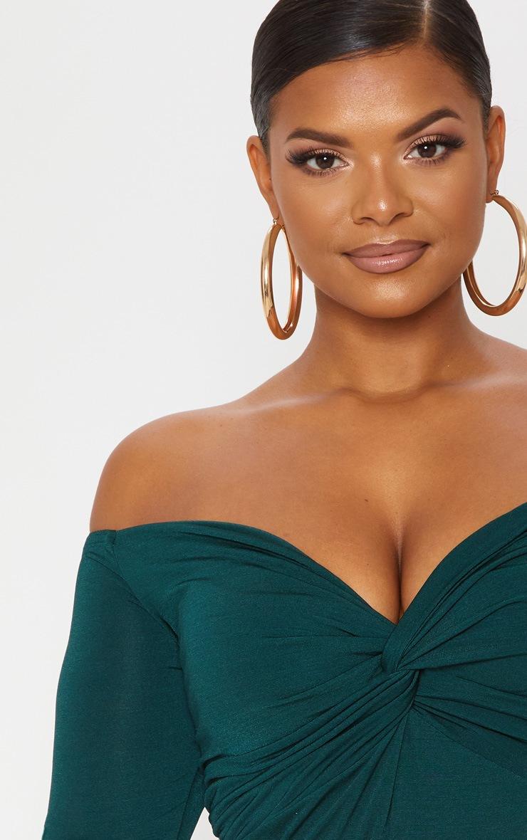 Plus Slinky Emerald Green Twist Front Bardot Bodysuit 6