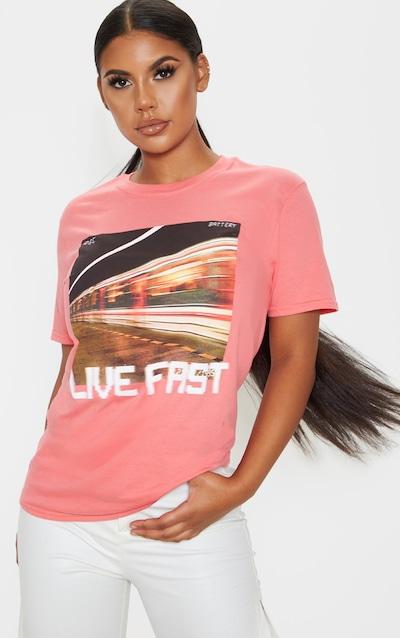 Coral Live Fast Slogan T Shirt