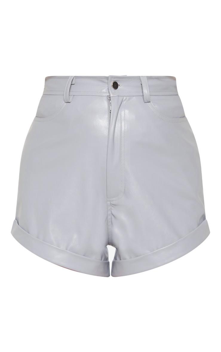 Lead Grey Faux Leather Turn Up Hem Shorts 3