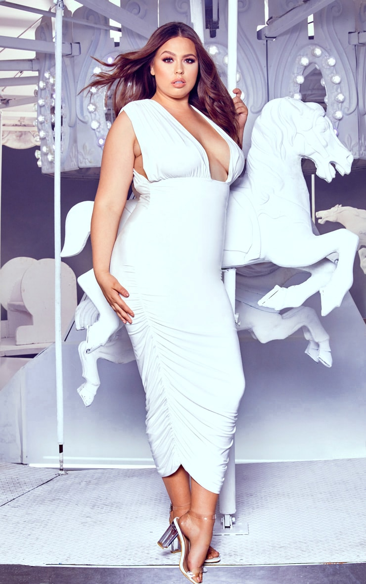 Plus White Ruched Plunge Midi Dress 4