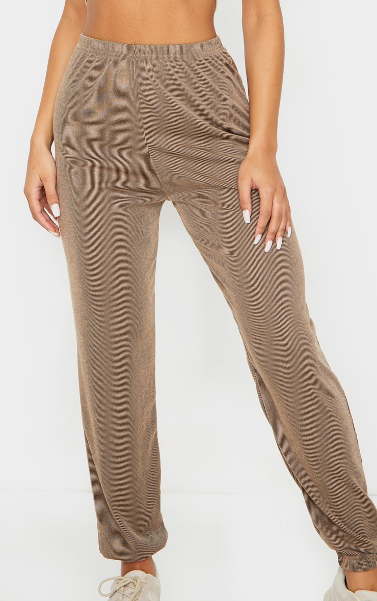 Camel Contrast Ribbed Casual Joggers 4