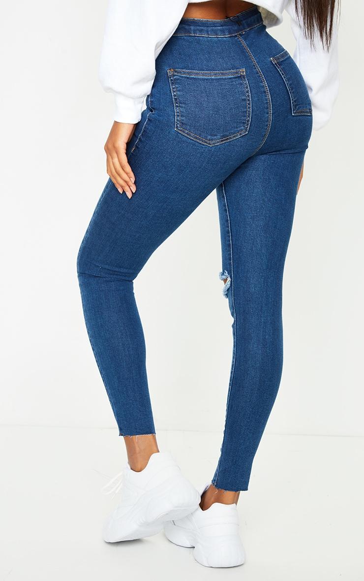 PRETTYLITTLETHING Mid Blue Wash Raw Hem Knee Rip Disco Skinny Jeans 3