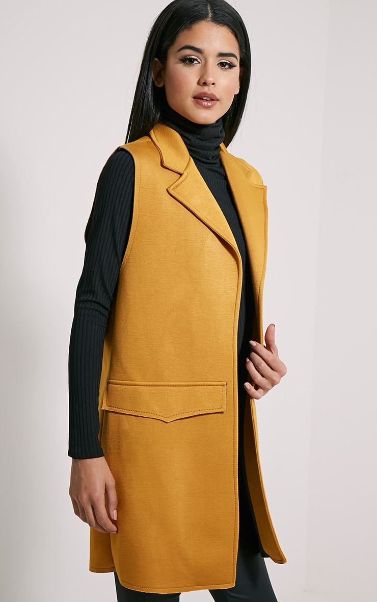Floria Mustard Sleeveless Structured Blazer 1