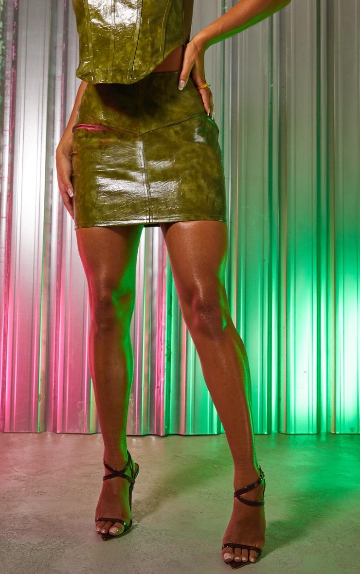 Green Vinyl Panelled Mini Skirt 2