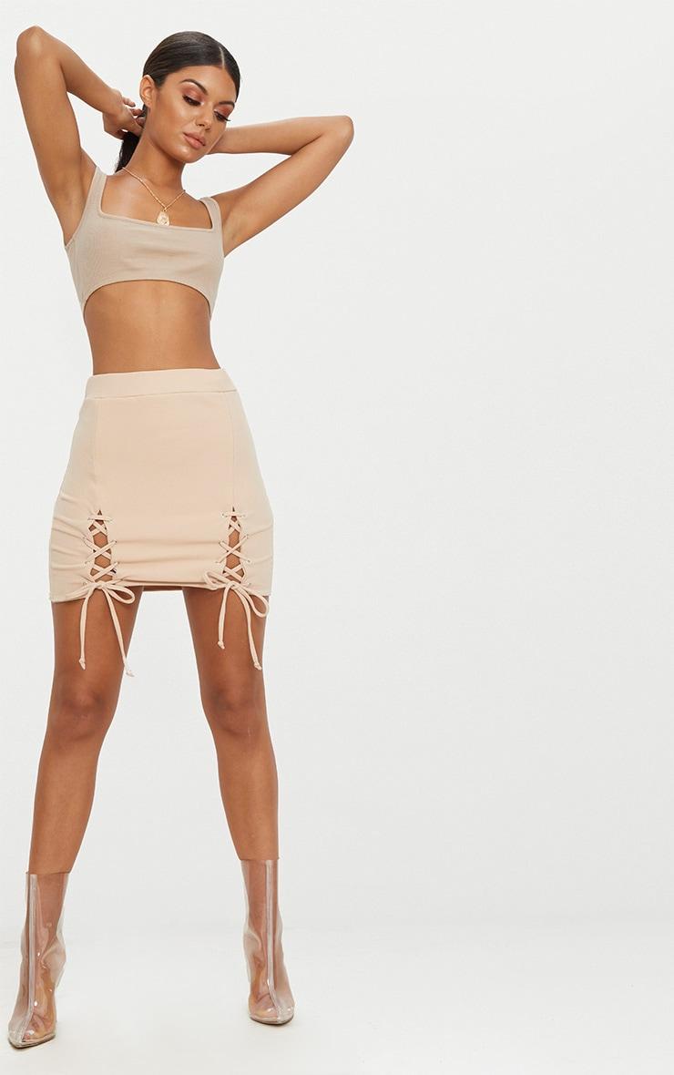 Stone Double Split Lace Up Mini Skirt  4
