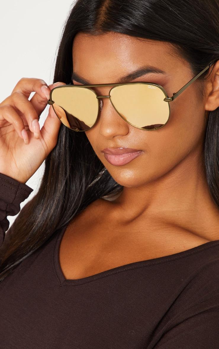 QUAY AUSTRALIA Gold The Playa Aviator Sunglasses