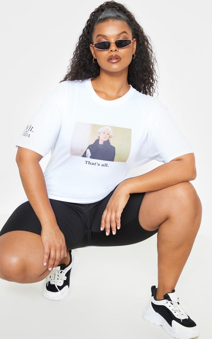 Plus White Devil Wears Prada Slogan T Shirt  4