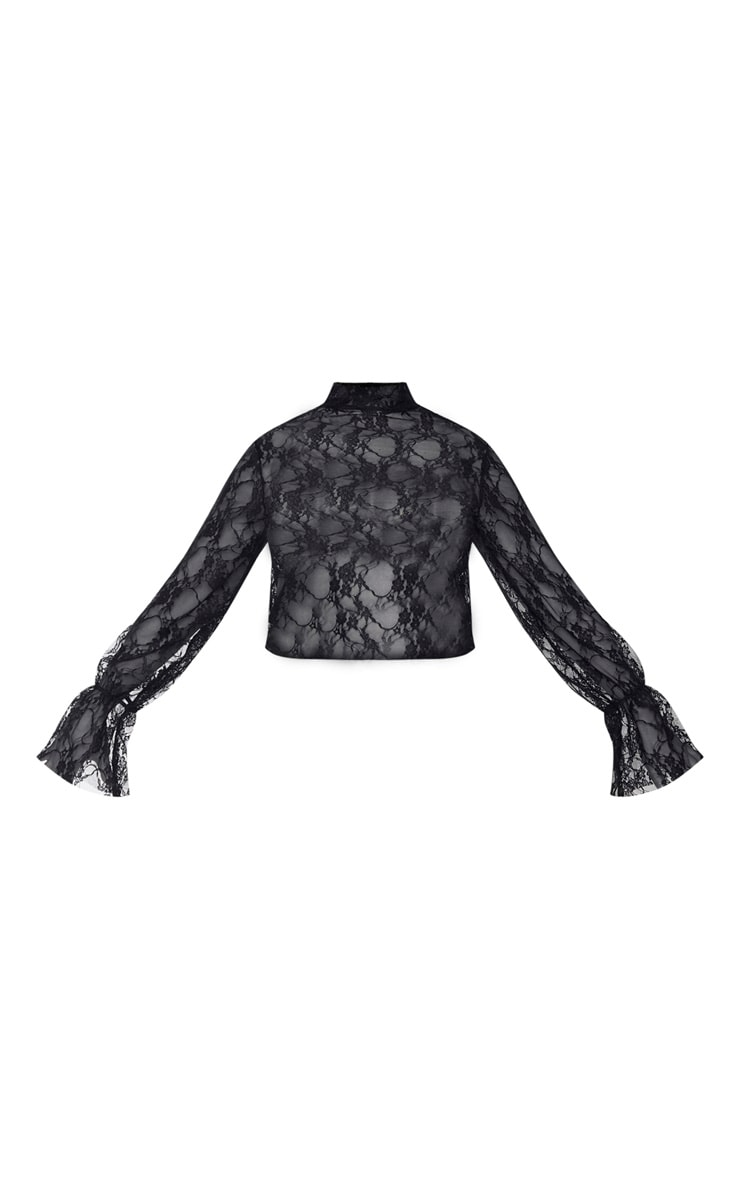 Plus Black Lace High Neck Frill Cuff Blouse 5