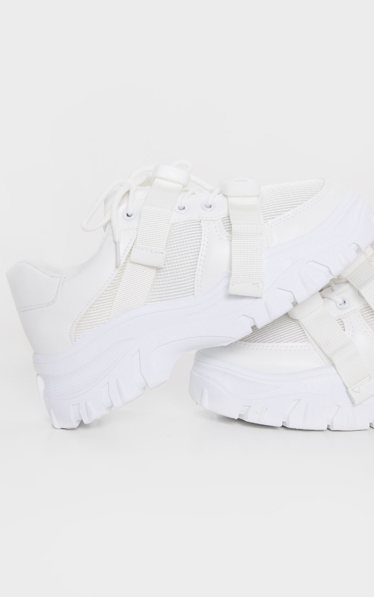White Buckle Chunky Flatform Trainer 4