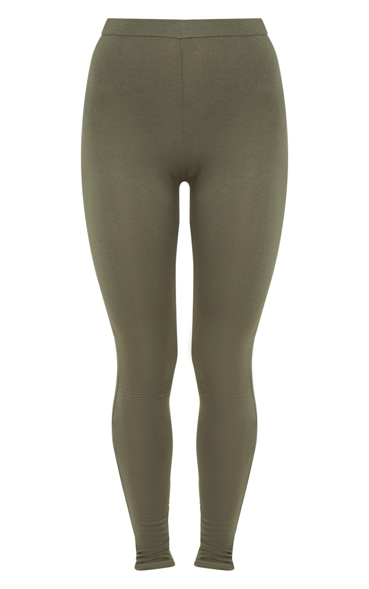 Khaki Ruched Back Jersey Legging 3