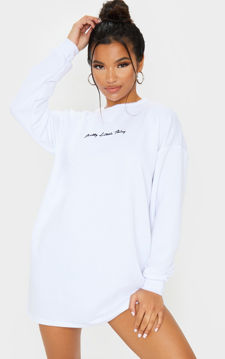 PRETTYLITTLETHING White Embroidered Sweat Jumper Dress 1