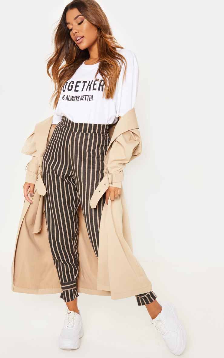 Black Stripe Peg Leg Trouser